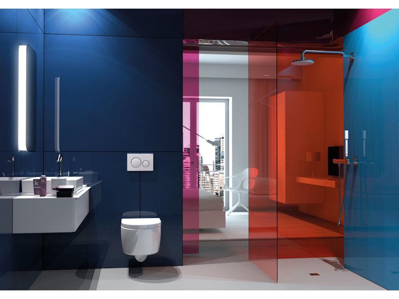 ایده طراحی سرویس بهداشتی آبی قرمز سفید