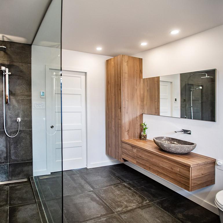ایده طراحی سرویس بهداشتی خاص سنگ طبیعی کابینت طرح چوب کف مشکی