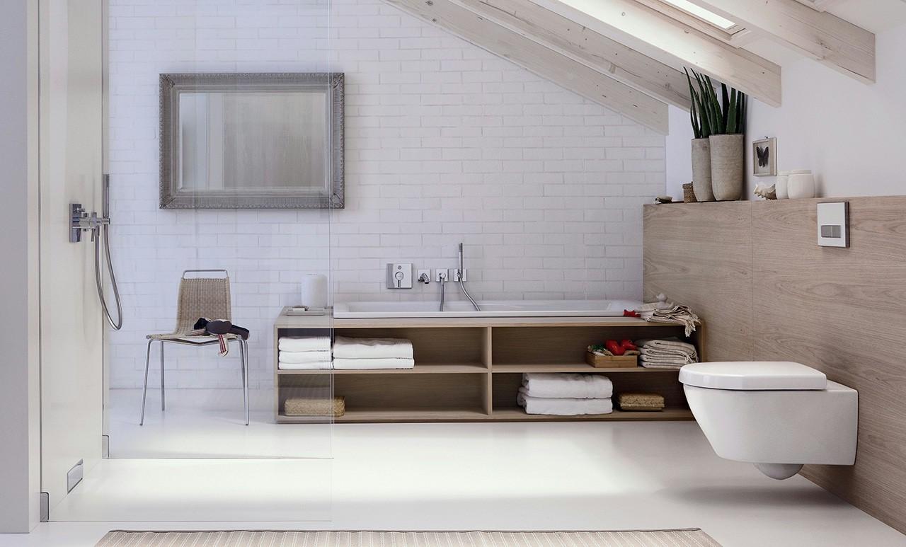 ایده طراحی سرویس بهداشتی سفید آجری طرح چوب