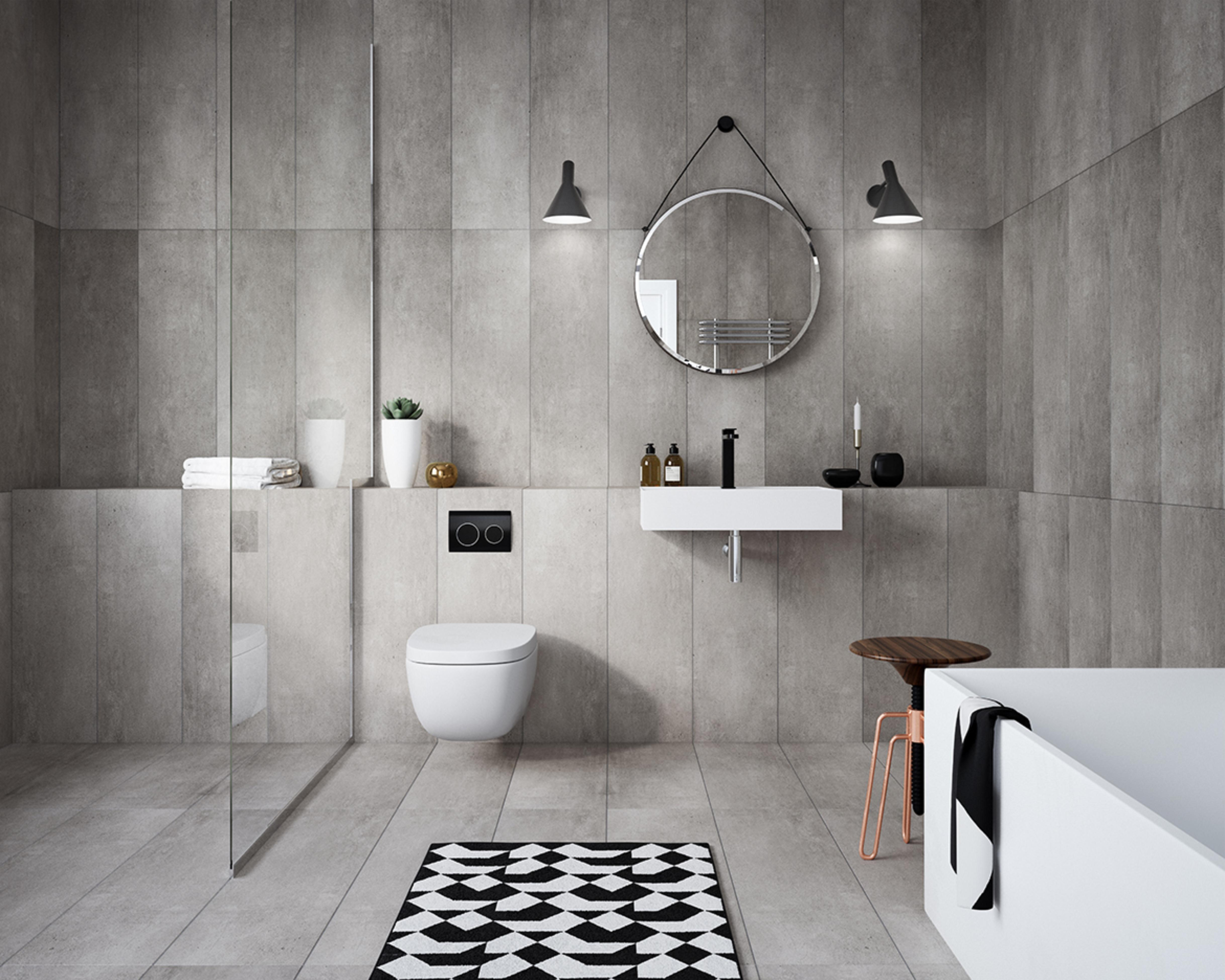 ایده طراحی سرویس بهداشتی طرح سنگ با فرش شطرنجی سیاه و سفید