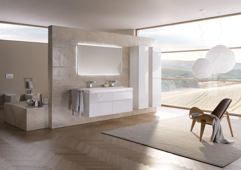 ایده طراحی سرویس بهداشتی مدرن سفید و کرم