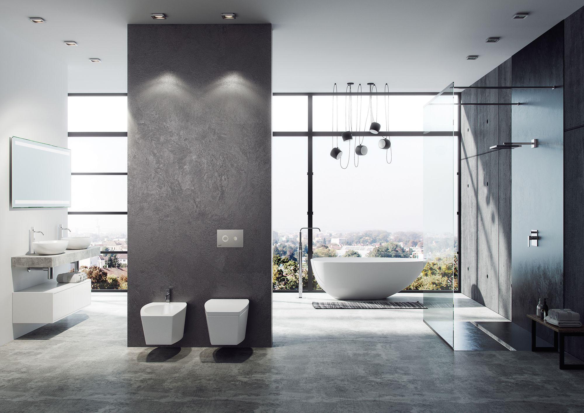 ایده طراحی سرویس بهداشتی مدرن طوسی سنگ سفید خاص