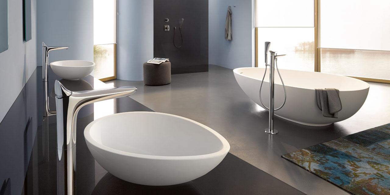 ایده طراحی سرویس بهداشتی مدرن کف خاکستری و دیورا سفید