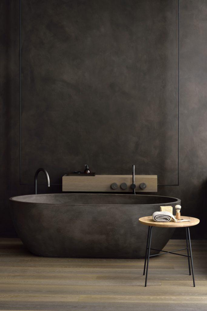 ایده طراحی سرویس بهداشتی مینیمالیست و تاریک خاکستری و چوب