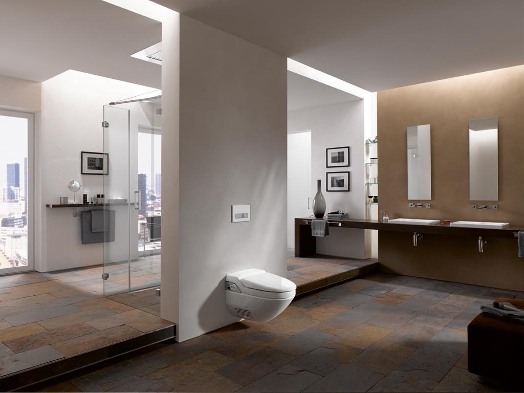 ایده طراحی سرویس بهداشتی کف سنگ دیوار رنگ کرم طلایی و سفید