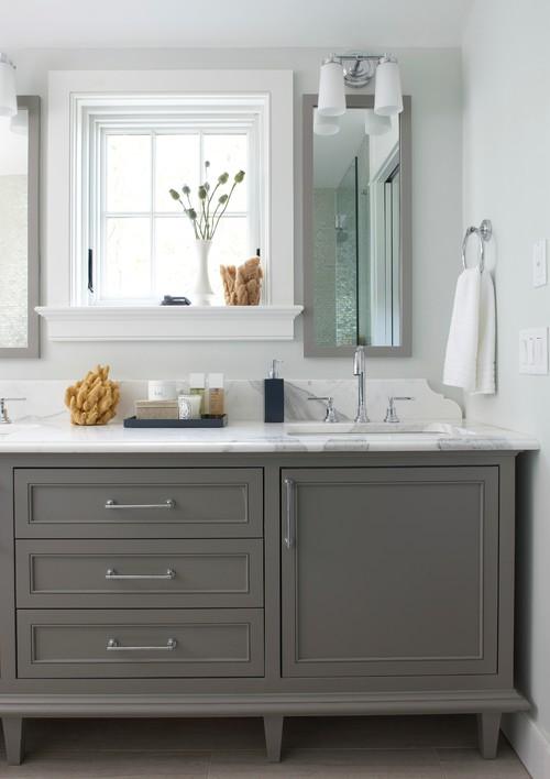 ایده طراحی کابینت روشویی سرویس بهداشتی کلاسیک مدرن خاکستری
